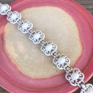 Vintage White Enamel on Metal Bracelet